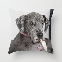 great dane Throw Pillows featuring Great Dane by Deborah Janke