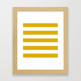 Mustard yellow - solid color - white stripes pattern Framed Art Print