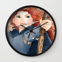 merida Wall Clocks featuring Merida  by Teddy Wade