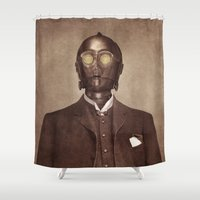c3po Shower Curtains featuring Baron Von Three PO  by Terry Fan
