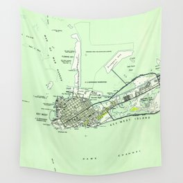 Vintage Map of Key West Florida (1943) Wall Tapestry