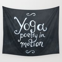 yoga Wall Tapestries featuring YOGA! by Jon Cain