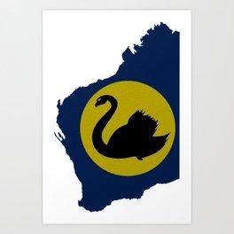 Western Australia Map with Western Australian WA Flag Art Print