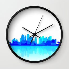 Blue City Reflections Wall Clock