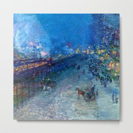 Classical Masterpiece 'Night Train' by Frederick Childe Hassam Metal Print