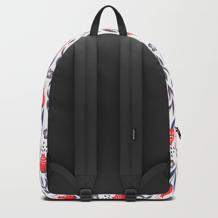 Retro Floral Red + Navy Blue + Gray Backpack