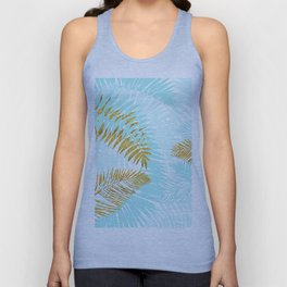 Aloha - Tropical Palm Leaves and Gold Metal Foil Leaf Garden Unisex Tank Top