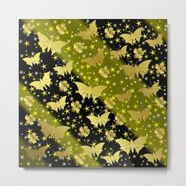 golden butterflies, small asian flowers on black background Metal Print