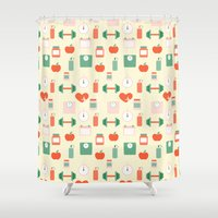 fitness Shower Curtains featuring Fitness pattern by Xinnie and RAE