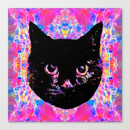 Glitch Streak Quad Cat Canvas Print
