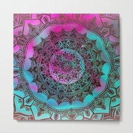 Ultra Violet And Teal Mandala Metal Print