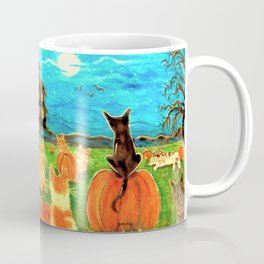 Seven Cats in Pumpkin Patch Coffee Mug