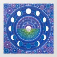 moon phase Canvas Prints featuring Moon Phase Mandala by Elspeth McLean