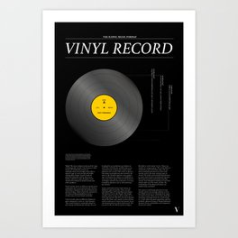 The Iconic Vinyl Record (Black, Yellow) Art Print