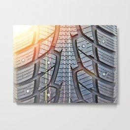 Background tread pattern winter tire Metal Print