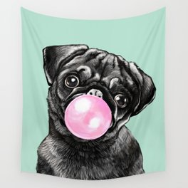 Bubble Gum Black Pug in Green Wall Tapestry