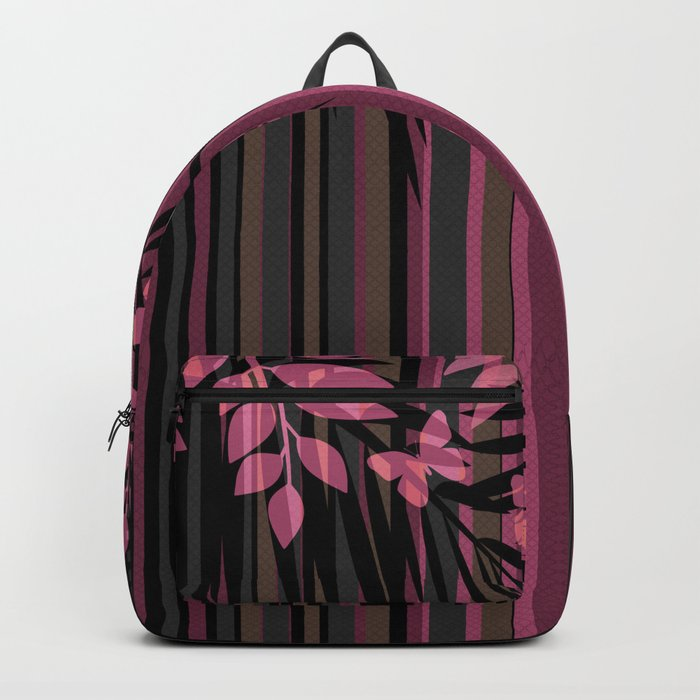 Butterflies and leaves on a striped red-and-black background . Backpack