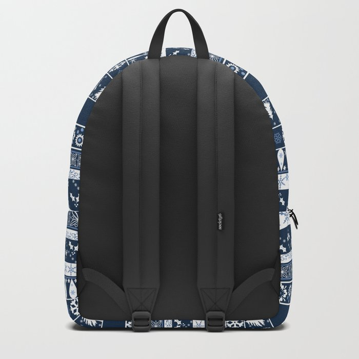 Retro . Christmas pattern . Blue background . Backpack