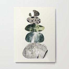 Stacked Pebbles On The Beach Metal Print