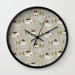 Little Village Church House Vector Pattern Wall Clock