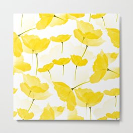 Light Yellow Poppies Spring Summer Mood #decor #society6 #buyart Metal Print