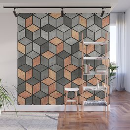 Concrete and Copper Cubes Wall Mural