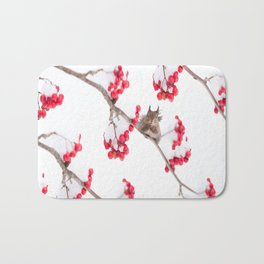 Cute Squirrel With Red Rowan Berries On A White Background #decor #society6 #buyart Bath Mat