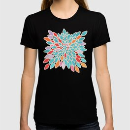 Radiant Dahlia - teal, orange, coral, pink watercolor pattern T-shirt