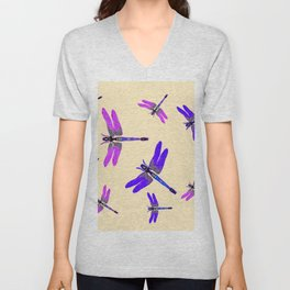 "PURPLE DRAGONFLIES ""SPRING SONG"" ART Unisex V-Neck"