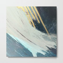 Karma: a bold abstract in blues and gold Metal Print