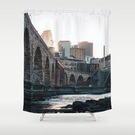Minneapolis Minnesota Skyline Sunset Shower Curtain