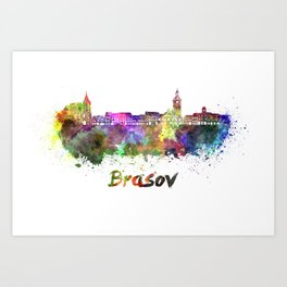 Brasov skyline in watercolor Art Print