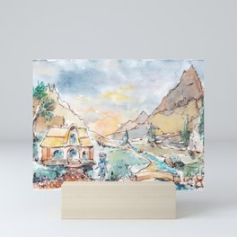 Skyrim. Village in the mountains by watercolor Mini Art Print