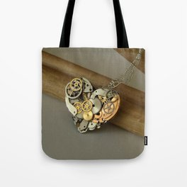 Steampunk Heart of Gold and Silver Tote Bag
