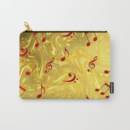 red music notes in golden festive paper background Carry-All Pouch