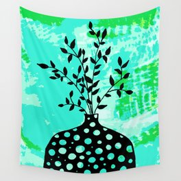 Plant in vase with dots Wall Tapestry
