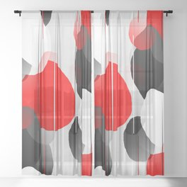 Modern Anxiety Abstract - Red, Black, Gray Sheer Curtain