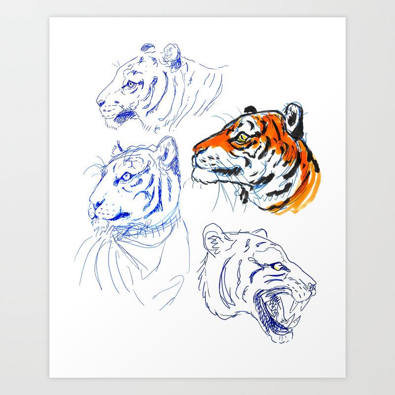 Tiger sketches art print