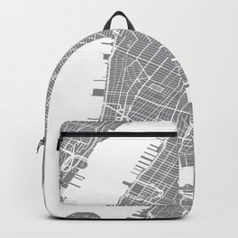 Grey City Map of New York, USA Backpack