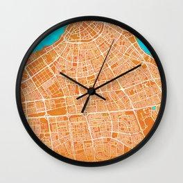 Kuwait City, Kuwait, Gold, Blue, City, Map Wall Clock