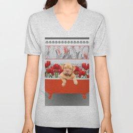 Bordeaux Bulldog Puppy in Bathtub with tulips Unisex V-Neck