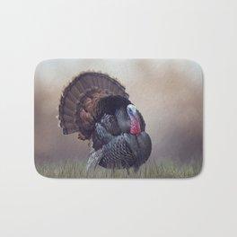 WIld Tom Turkey in the grassland Bath Mat