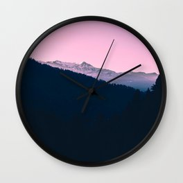 Pink Sunset Rolling Hill Silhouette Landscape Photo Wall Clock