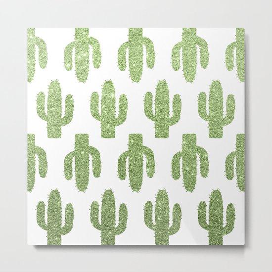 Glitter Cacti Metal Print