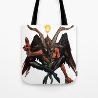 baphomet Tote Bags featuring BAPHOMET by Lowell Isaac