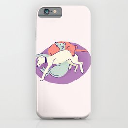 3 Italian Greyhounds Sleeping on a Lilac Pillow - Iggy Doggies Resting iPhone Case