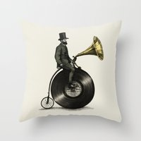 chris brown Throw Pillows featuring Music Man by Eric Fan