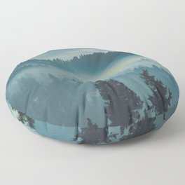 Misty Blue Watercolor Mountains Pine Trees Silhouette Minimalist Monochromatic Photo Floor Pillow