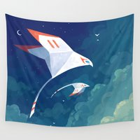 bridge Wall Tapestries featuring Flyby by Freeminds