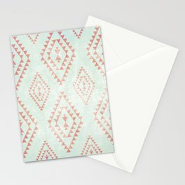 mint & coral tribal pattern Stationery Cards